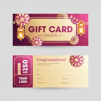 Gift card orizzontale o design di banner in vista frontale e posteriore