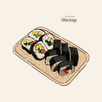 Gimbap piatto coreano tradizionale. sushi coreano. illustrazione disegnata a mano di vettore