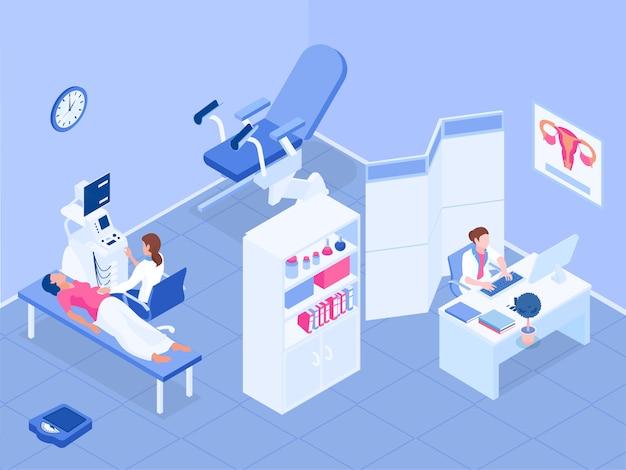 Ginecologia e gravidanza con simboli sanitari delle donne isometrici