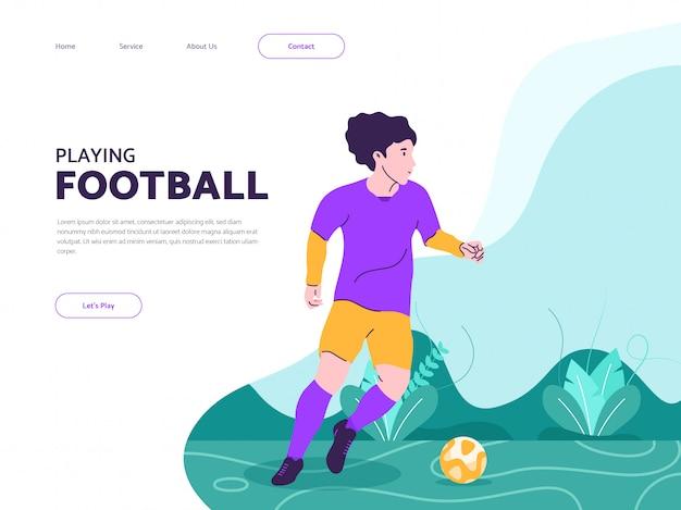 Giocando a calcio l'illustrazione piana di progettazione per il concetto della pagina di atterraggio
