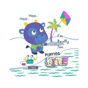 Giocando aquilone divertente cartone animato animale, illustrazione vettoriale