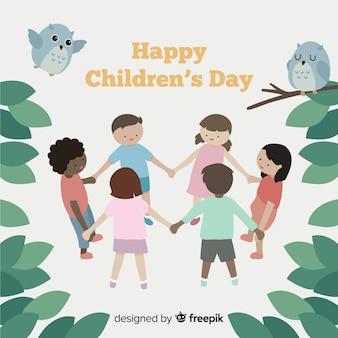 Giocando gli amici sfondo del giorno dei bambini