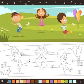 Giocando i bambini che colorano la pagina orizzontale del fumetto con l'illustrazione di vettore isolata schema colori