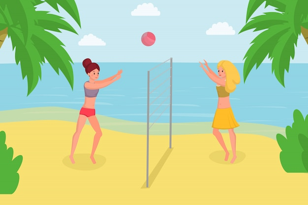 Giocare a beach volley in vacanza estiva. godendo il gioco della palla con l'amico sulla riva dell'oceano