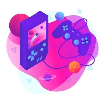 Giocare al videogioco illustrazione