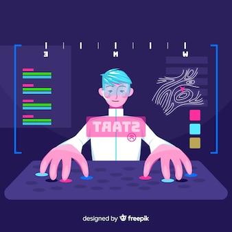 Giocatore che gioca con il computer
