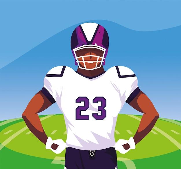 Giocatore del super bowl con il casco davanti all'illustrazione del campo