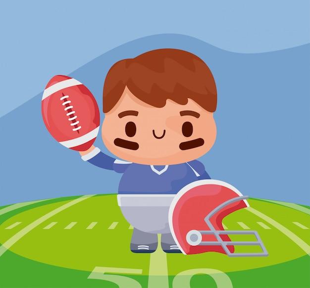 Giocatore del super bowl con la palla sopra l'illustrazione del campo