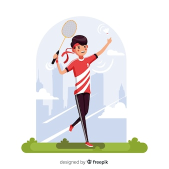 Giocatore di badminton con racchetta e piuma