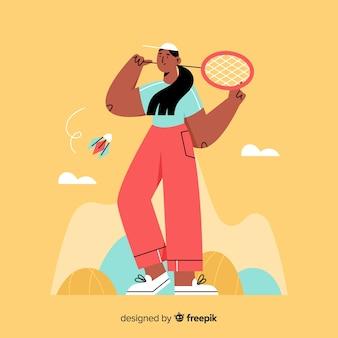Giocatore di badminton disegnato a mano con la racchetta