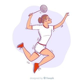 Giocatore di badminton disegnato a mano con una racchetta