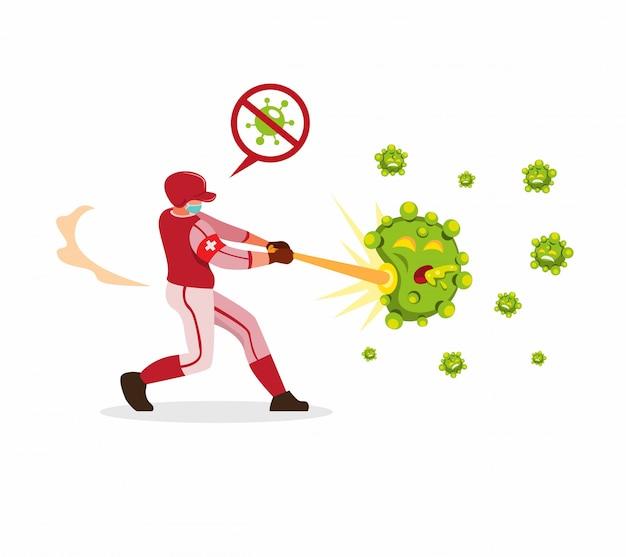 Giocatore di baseball che colpisce i batteri per fermare l'illustrazione di diffusione del virus della corona nel vettore piano del fumetto isolato
