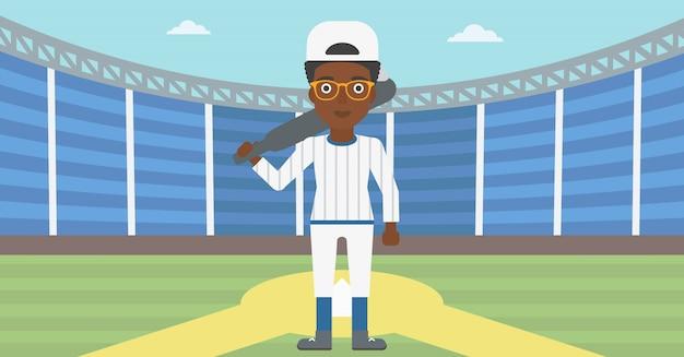 Giocatore di baseball con illustrazione vettoriale di pipistrello.