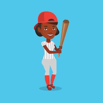 Giocatore di baseball con l'illustrazione di vettore del pipistrello.