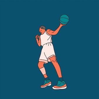 Giocatore di baseball con palla piatta illustrazione