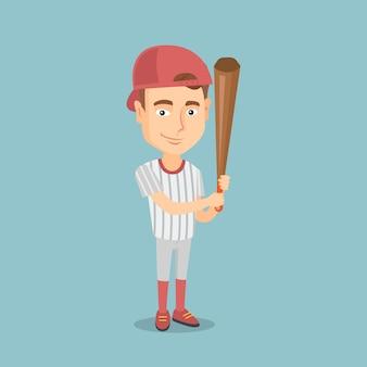 Giocatore di baseball con un'illustrazione di vettore del pipistrello.