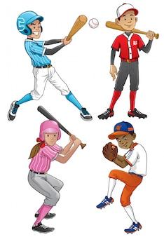 Giocatore di baseball imposta personaggio in stile cartone animato
