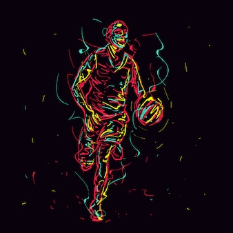 Giocatore di basket astratto dribbling la palla