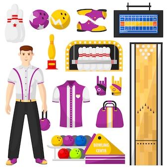 Giocatore di bowling con set di icone di attrezzatura da bowling.