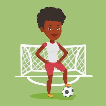 Giocatore di football americano con l'illustrazione di vettore della palla.