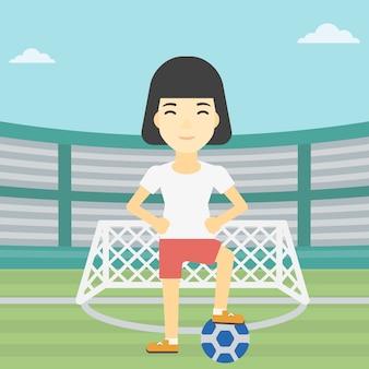 Giocatore di football americano con l'illustrazione di vettore della palla