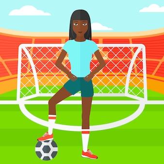 Giocatore di football americano con palla