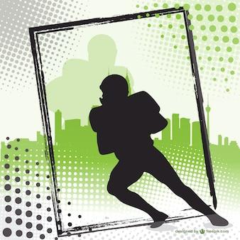 Giocatore di football americano silhouette background