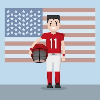 Giocatore di football americano sopra la bandiera usa