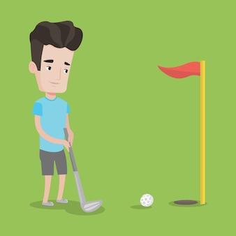 Giocatore di golf che colpisce l'illustrazione di vettore della palla.