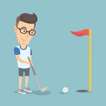 Giocatore di golf che colpisce un'illustrazione di vettore della palla.