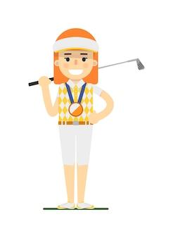 Giocatore di golf della giovane donna con il club di golf