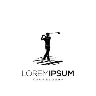 Giocatore di golf della siluetta di disegno di marchio