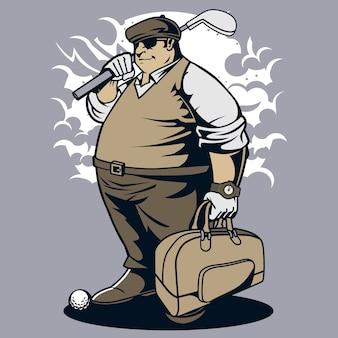 Giocatore di golf grasso