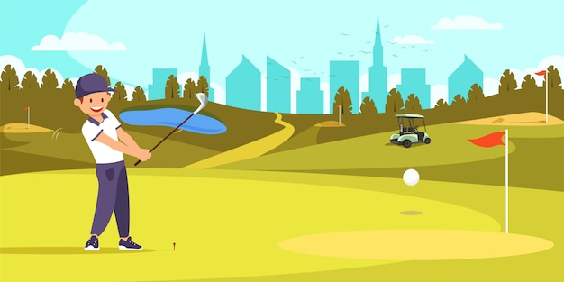 Giocatore di golf maschio che allinea t in tiro sul campo da golf.