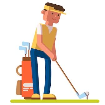 Giocatore di golf professionista che gioca a golf