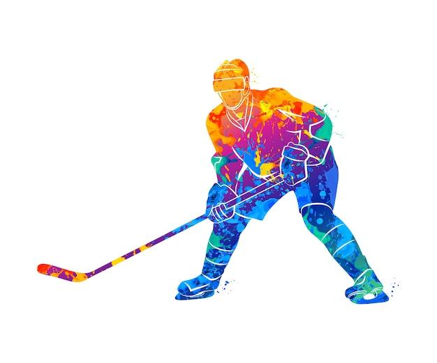 Giocatore di hockey astratto da una spruzzata di acquerelli. illustrazione di vernici.