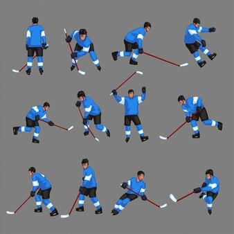 Giocatore di hockey colorato set 2