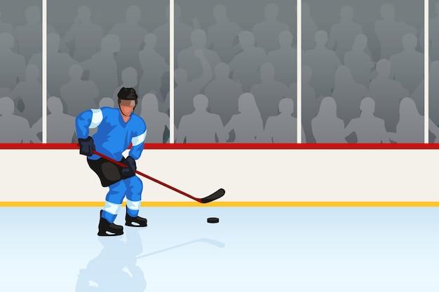 Giocatore di hockey in una pista