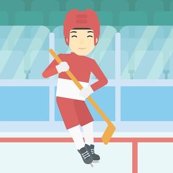 Giocatore di hockey su ghiaccio con illustrazione vettoriale bastone.