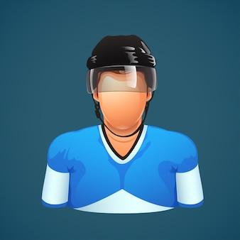 Giocatore di hockey su sfondo blu