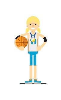 Giocatore di pallacanestro sorridente della donna con la palla