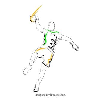 Giocatore di pallamano con stile abbozzato