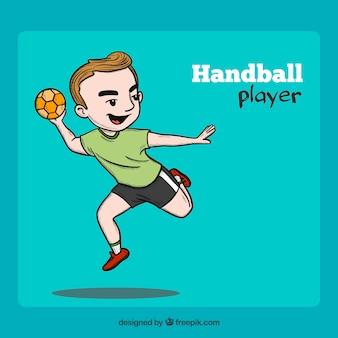 Giocatore di pallamano disegnato a mano professionale
