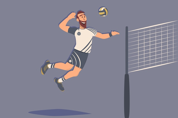 Giocatore di pallavolo di cartone animato con palla