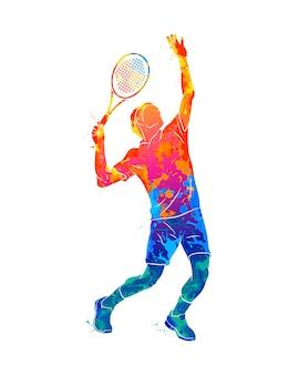 Giocatore di tennis astratto con una racchetta da schizzi di acquerelli. illustrazione di vernici