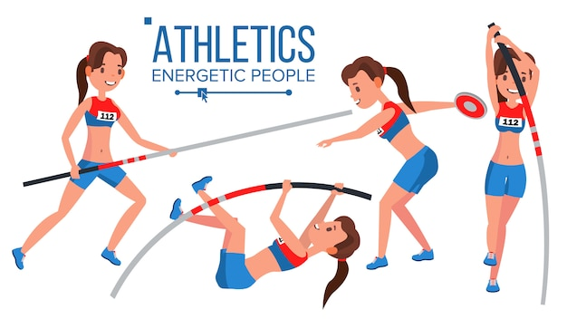 Giocatore femminile di atletica leggera. vincere il concetto. vari. gara di gara. ostacolo salto lungo. in azione. personaggio dei cartoni animati