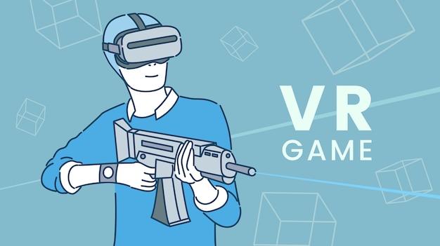 Giocatore in cuffia con arma che gioca il gioco sparatutto vr