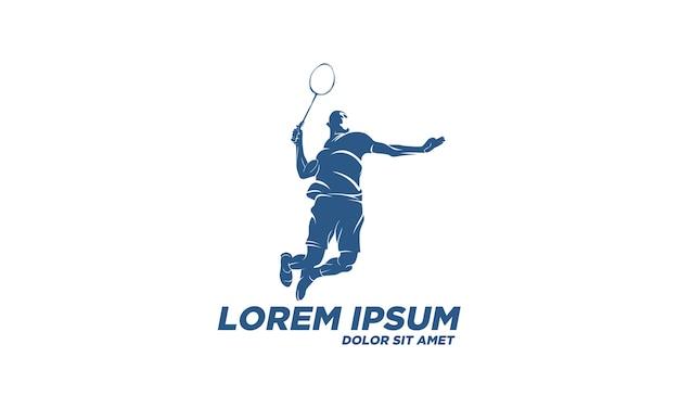 Giocatore moderno di badminton appassionato in azione logo