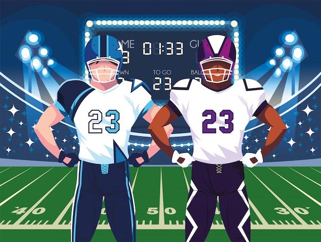 Giocatori della ciotola eccellente con il casco davanti all'illustrazione del campo