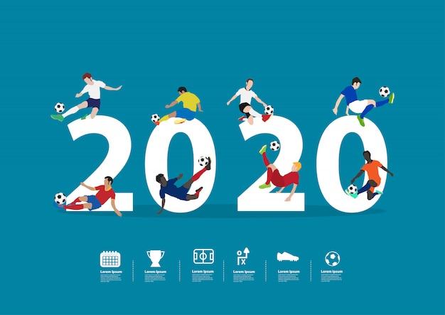 Giocatori di calcio del 2020 nuovo anno in azione su grandi lettere piatte
